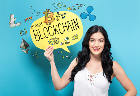 Blockchain with young woman holding a speech bubble