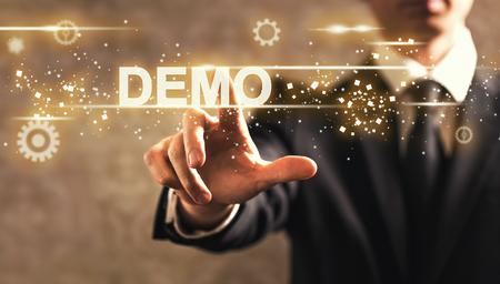 Demo text with businessman on dark vintage background Standard-Bild
