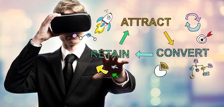가상 현실 헤드셋을 사용하여 사업가와 텍스트를 유지하십시오. 스톡 콘텐츠