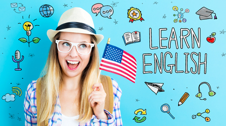 Study English theme with young woman holding American flag