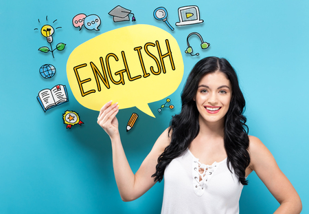 English with young woman holding a speech bubble Stockfoto