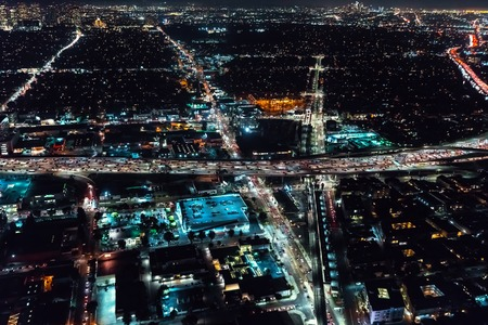 Aerial view of a massive highway in Los Angeles, CA at night Stok Fotoğraf