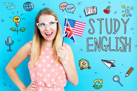 旗を掲げた若い女性と英語をテーマに勉強する