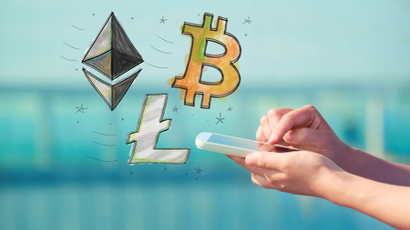 Bitcoin Ethereum and Litecoin with person holding a smartphone