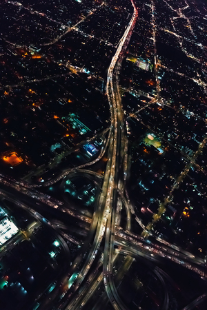 Aerial view of a massive highway in Los Angeles, CA at night Reklamní fotografie