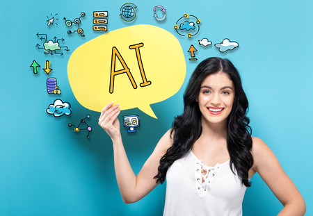 AI with young woman holding a speech bubble