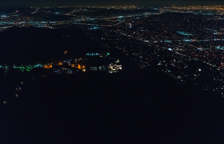 Aerial view of the sprawling Los Angeles cityscape from behind Griffith Park Stock Photo