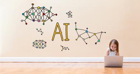 어린 소녀가 바닥에 랩톱 컴퓨터를 사용하여 AI 텍스트 스톡 콘텐츠 - 95043037