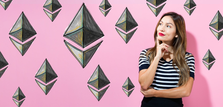 Ethereum with young woman in a thoughtful pose