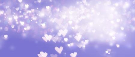 Beautiful shiny hearts and abstract lights background Reklamní fotografie