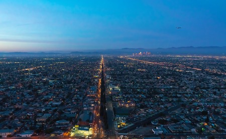 Aerial view of a massive highway in Los Angeles, CA at night Banco de Imagens