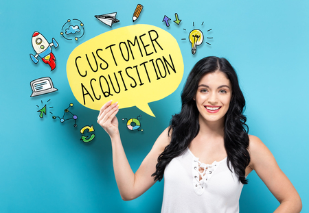 Customer Acquisition with young woman holding a speech bubble