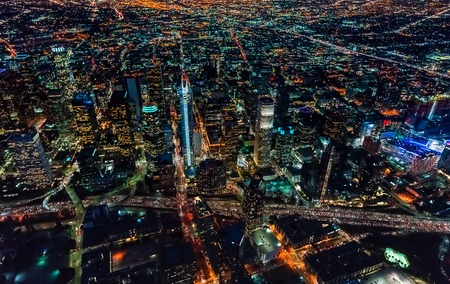 Aerial view of Downtown Los Angeles at night
