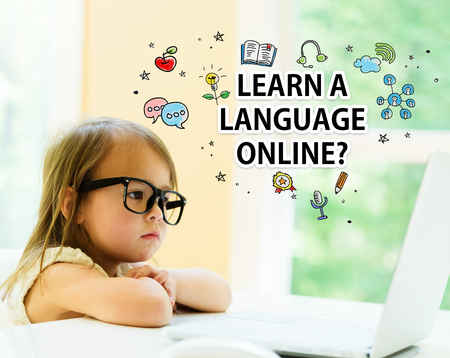 Laern a Language Online text with little girl using her laptop