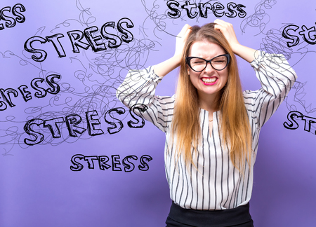 Stress with young business woman feeling stressed