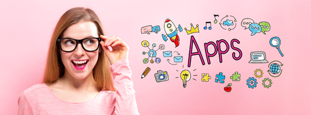 Apps with happy young woman holding her glasses