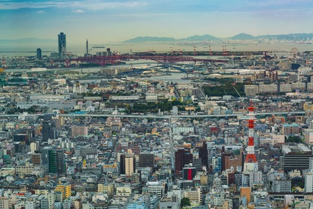 Aerial view of the Osaka cityscape in the morning Reklamní fotografie