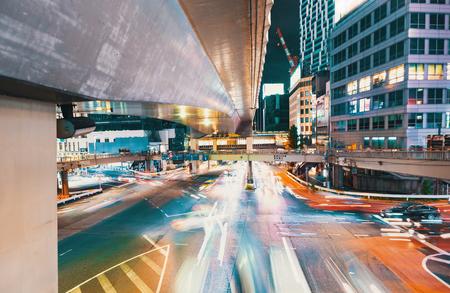 View of motion blurred traffic in Shibuya, Tokyo, Japan at night