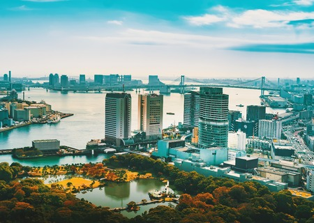 Aerial view of Tokyo Bay, Japan in the morning Stock Photo