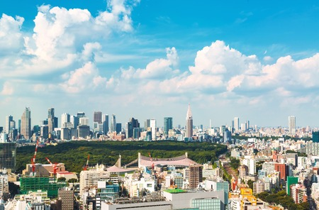 View of the Shinjuku skyline from Shibuya, Tokyo, Japan Stock Photo - 95823932