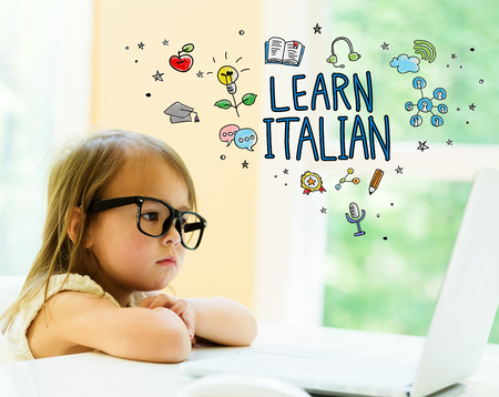 Learn Italian text with little girl using her laptop