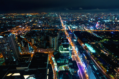 Aerial view of the Osaka cityscape at night Archivio Fotografico - 95838775