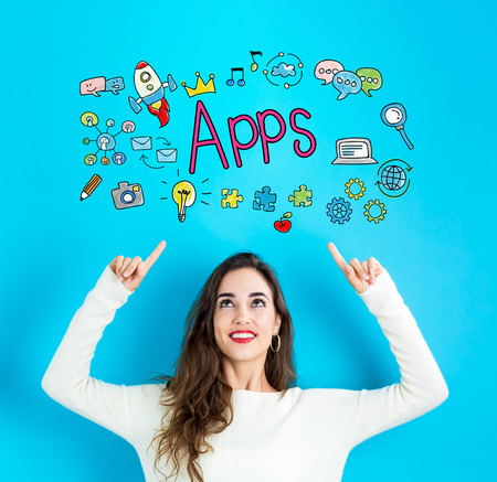 Apps with young woman reaching and looking upwards
