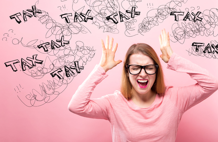 Tax with young woman feeling stressed on a pink background
