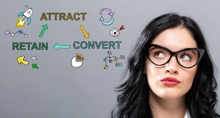 Attract Convert Retain with young businesswoman in a thoughtful face