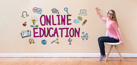 Online Education with young woman holding a pen in a chair