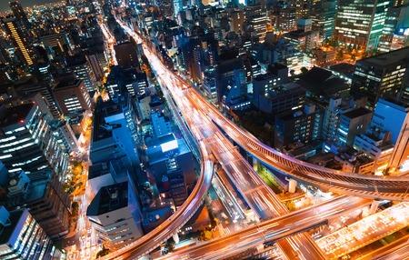 Vue aérienne d'une intersection autoroutière massive à Osaka, Japon Banque d'images - 96147862