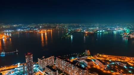 Aerial view of the Osaka Bay harbor area at night Stok Fotoğraf