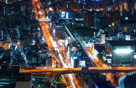 Aerial view of a highway in Osaka, Japan Archivio Fotografico - 96231681