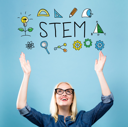 STEM with young woman reaching and looking upwards