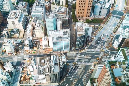 朝の東京のスカイラインの航空写真 写真素材