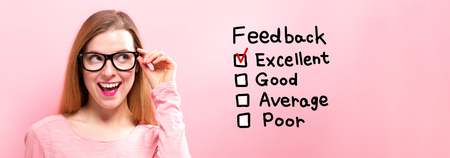 Feedback with happy young woman holding her glasses