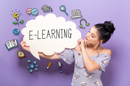 E-Learning with young woman holding a speech bubble Stock Photo - 96479054