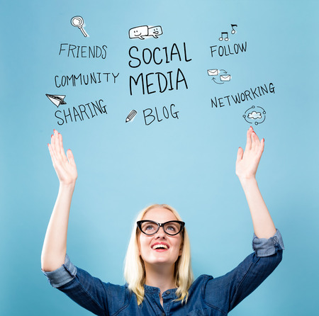 Social Media with young woman reaching and looking upwards