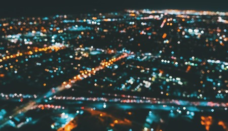 Aerial blurred view of a massive highway in Los Angeles, CA at night Banco de Imagens