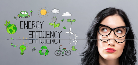 Energy Efficiency with young businesswoman in a thoughtful face
