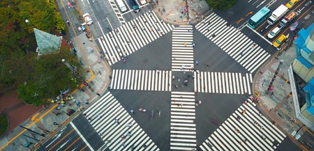 Aerial view of people crossing a big intersection in Ginza, Tokyo, Japan 写真素材