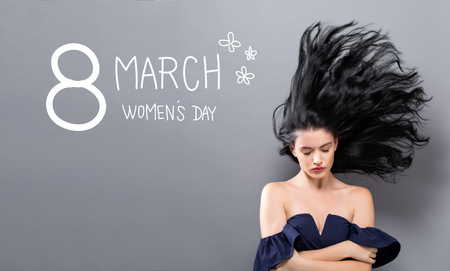 Womens Day message with young woman with floating hair