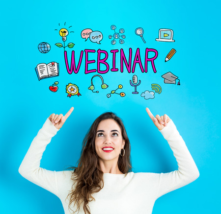 Webinar with young woman reaching and looking upwards