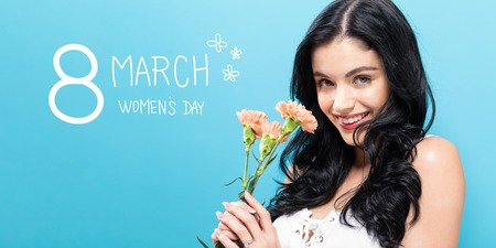 Womens Day message with young woman with carnaion Banco de Imagens
