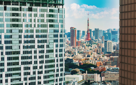 View of Tokyo Tower in Minato from Shibuya, Tokyo, Japan