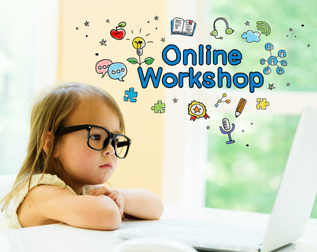 Online Workshop text with little girl using her laptop 스톡 콘텐츠