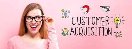 Customer Acquisition with happy young woman holding her glasses