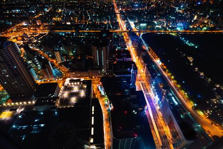 Aerial view of the Osaka cityscape at night Archivio Fotografico - 97128080