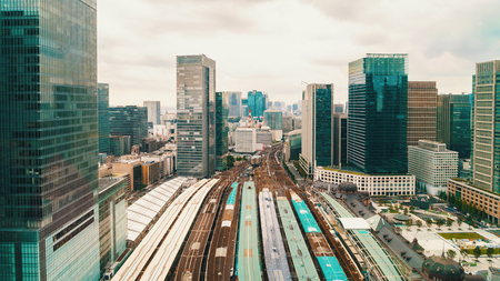 Aerial view of a large train station in Tokyo, Japan