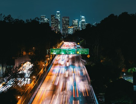 Aerial view of the highway leading to Downtown Los Angeles, CA Stock Photo